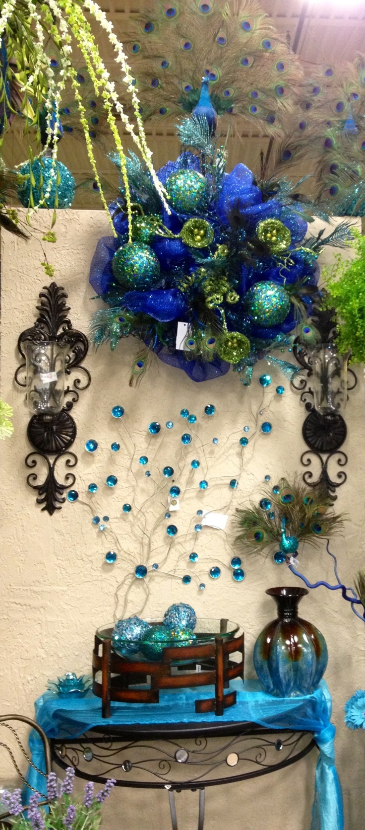 Blue Peacock Theme Display Designed By Arcadia Floral