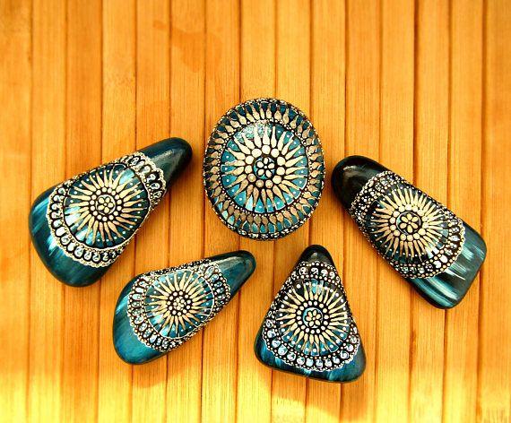 Mandala stones, mandala art, boho decor dorm, boho turquoise decor, boho teal decor, bohemian decor, boho decorations, mandala decor