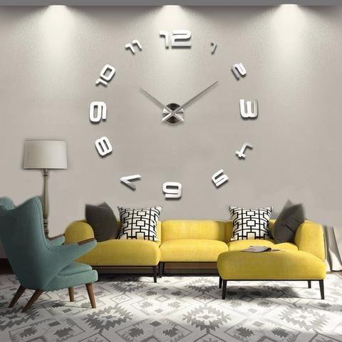 3d Home Decoration Big Mirror Wall Clock Modern Design, Large Size Wall  Clocks, DIY