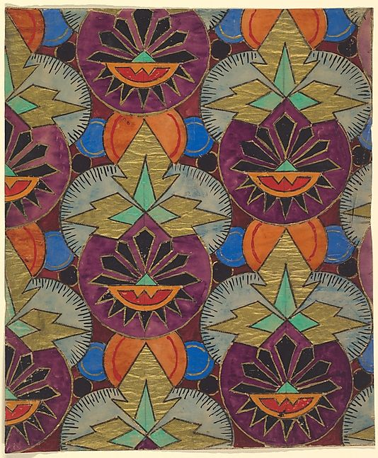 Repetitive pattern with purple circles topped with three for Art deco style fabric