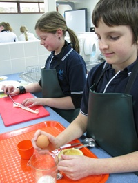 Melba Copland Secondary School students in the kitchen