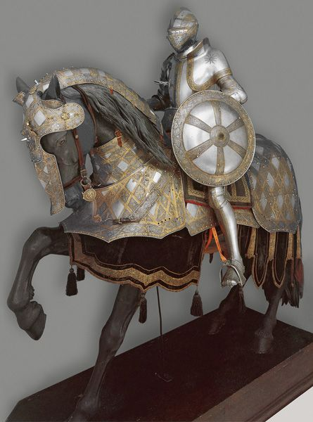 """The Art of Power Wolfgang Grosschedel, German, c. 1517–1562, The """"Burgundy Cross Armor"""" of Philip II, Landshut, 1551, etched and gilt steel; gold and brass, Patrimonio Nacional, Real Armería, Madrid"""