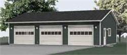 42' x 30' oversized 3 bay garage has 10' high walls and oversized garage doors