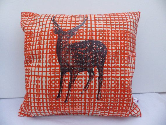 Orange Reindeer Large Christmas Cushion Cover by madeincrawley