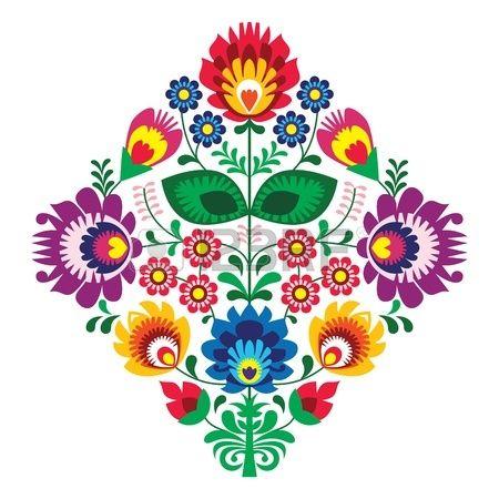 Folk bordado con flores patr n tradicional polaca Foto de archivo                                                                                                                                                                                 Más
