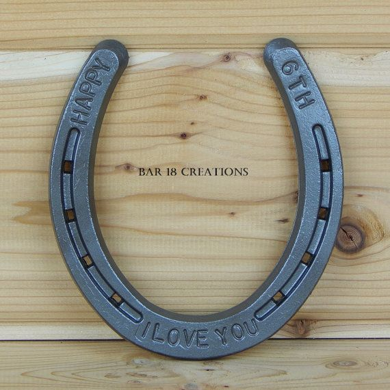6th Anniversary Stamped Horseshoe  personalized 6th by LizzyandMe