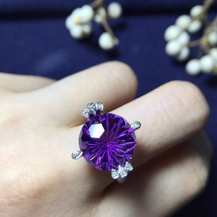 Aliexpress.com : Buy 12*12mm fine jewelry certificated 18k white gold natural purple crystal Uruguay amethyst ring for women from Reliable ring of o jewelry suppliers on Serena's Jewelry