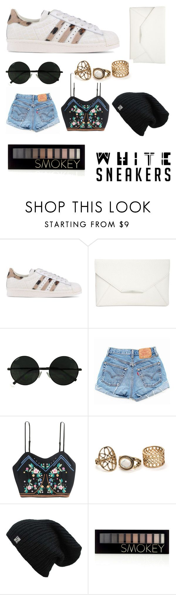 """""""white sneakers"""" by wakeupandliive ❤ liked on Polyvore featuring adidas Originals, Style & Co., Levi's and Forever 21"""