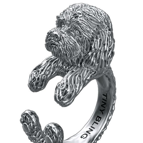 Silver Poodle Ring Tiny Bling