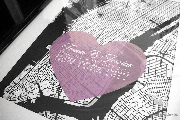 New York engagement poster, designed by Q& Design. | qandvictoria.wordpress.com