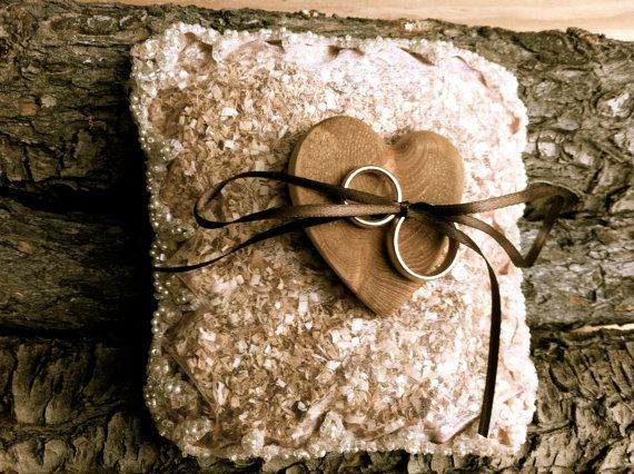 Rustic wedding bearer pillow winter country wooden by MomoRadRose, $40.00