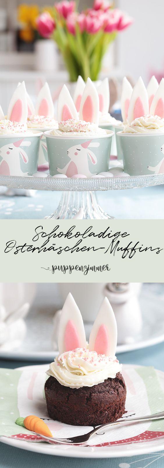 Osteridee: Schokoladige Osterhäschen-Muffins / Schokoladen Cupcakes