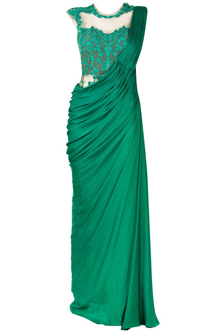 Jade green embroidered sari gown available only at Pernia's Pop-Up Shop.