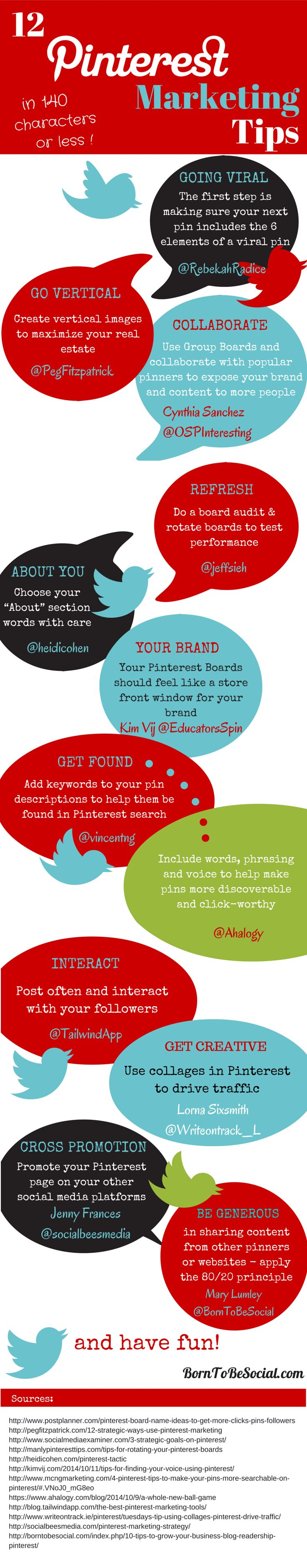 Tweetable Pinterest Marketing Tips from the Pros [Infographic] BornToBeSocial.com