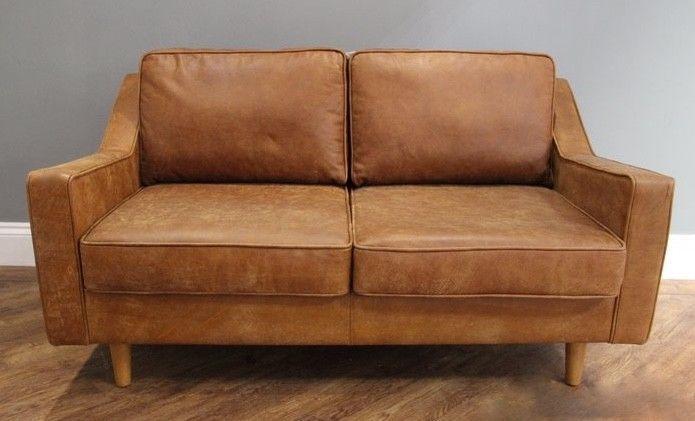 Made.com Dallas 2 Seater Sofa Outback Tan Premium Leather ...