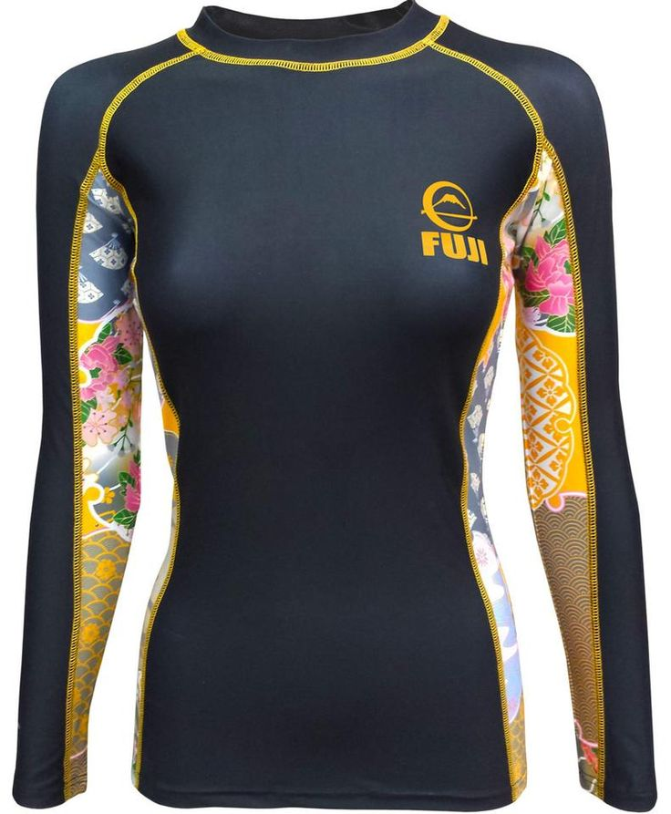 Fuji Women's Kimono Jiu Jitsu Rash Guard - Black: 4-way stretch, anti microbial, sublimated graphics, tapered waist. SOLD AT BUSHIDOWAREHOUSE.COM