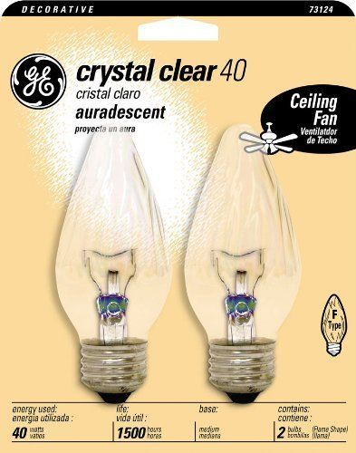 GE Lighting 73124 40-Watt Medium Base Flame Shape Bulb, Crystal Clear by GE Lighting. Save 4 Off!. $3.85. From the Manufacturer                GE 73124 Crystal Clear Aura descent Flame Tip Multi-Purpose Medium Base Fm 40-Watt. GE incandescent lamps represents the state of the art of lamps for residential and commercial use, as well as special purpose lamps for decorative or display applications. In an incandescent lamp, light is generated by heating the filament to incandescence....