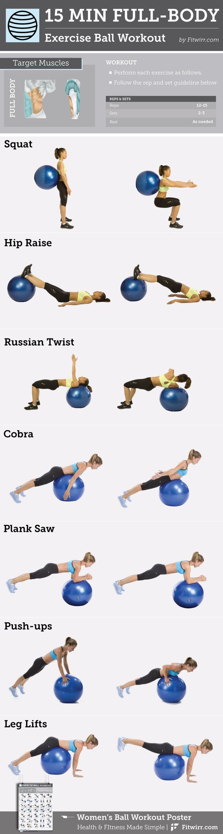 15-Minute Full-Body Exercise Ball #Workout content @ www.pinterest.com...