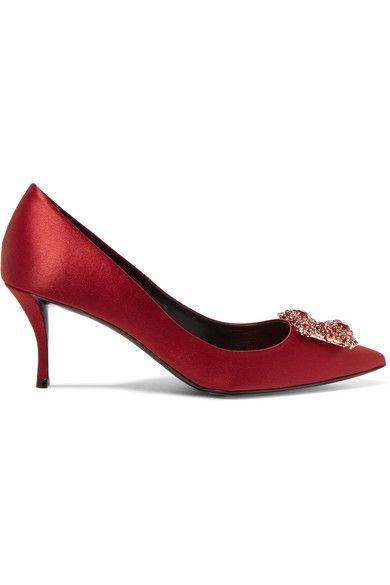 Roger Vivier - Crystal-embellished Satin Pumps - Red