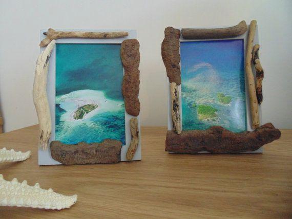 lot de 2 cadres photos avec bois flottés - 10 x 15 cm