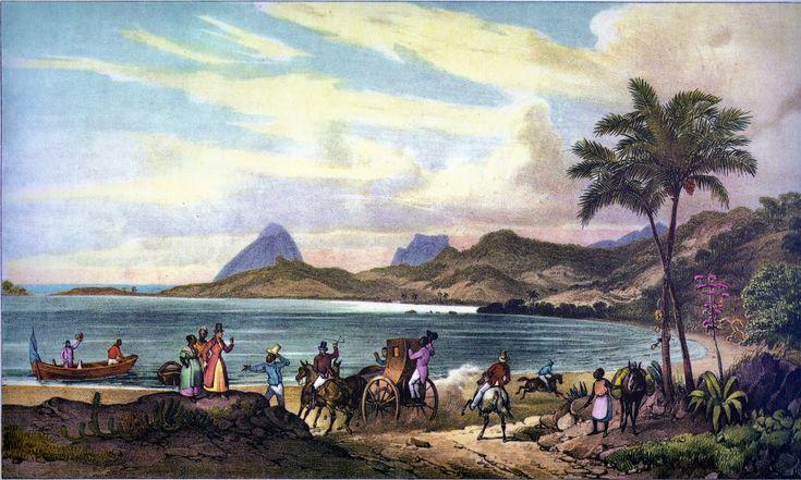 """""""Rio de Janeiro"""", óleo sobre tela do alemão Johann Moritz Rugendas, que viajou por todo o Brasil de 1822 a 1825 pintando os povos e os costumes que encontrou. Veja mais em: http://semioticas1.blogspot.com.br/2011/08/tem-sambafoto-dos-bambas-cascata-donga.html"""