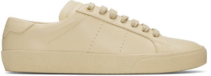 SAINT LAURENT Beige Sl/06 Court Classic Sneakers. #saintlaurent #shoes #sneakers