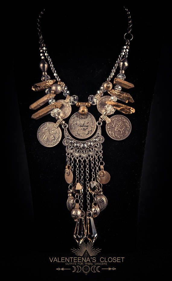 Gold Raindrops-2 Rows Tribal Necklace with Champagne Crystals