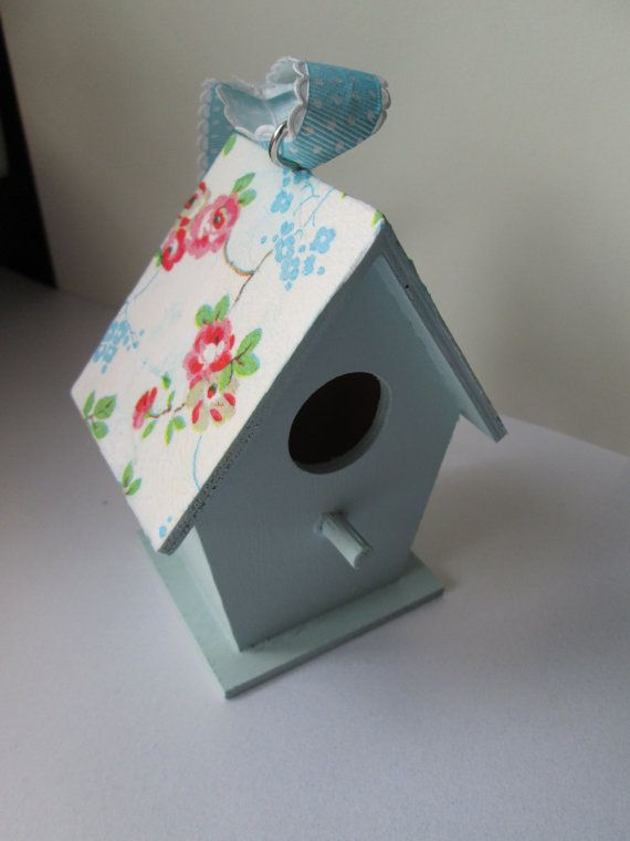 decoupage pale blue cath kidston bird house little houses pinterest gardens birds and house. Black Bedroom Furniture Sets. Home Design Ideas