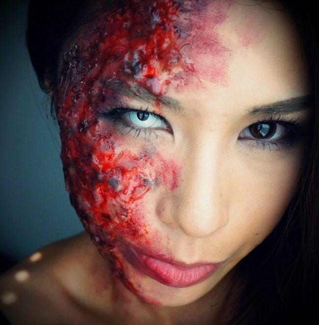 wunden-schminken-brandwunde-halloween-kunstblut-farbige-kontaktlinse
