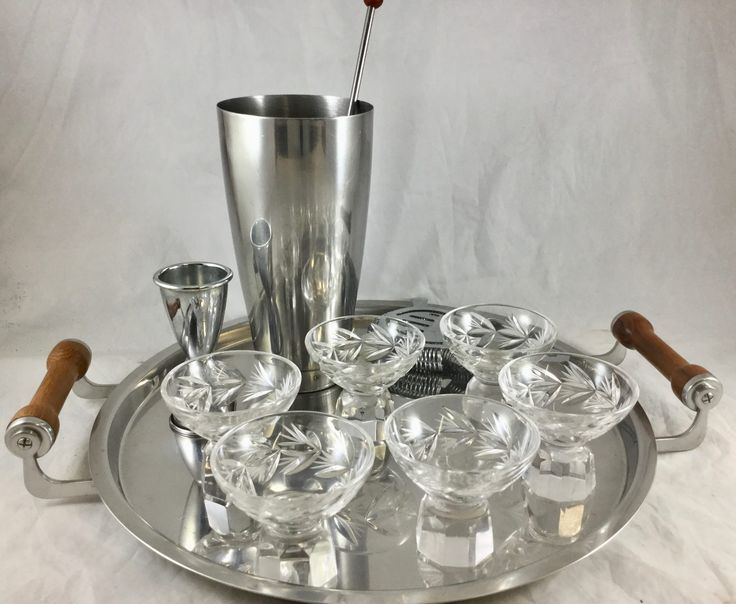 Vintage MidCentury Cocktail Set Stainless Steel Tray Shaker 6 Crystal Shot Glasses