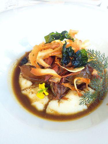 Slow cooked goat, white polenta, goat curd, red onion 'jam'. [Lake House - Daylesford, Victoria, Australia]