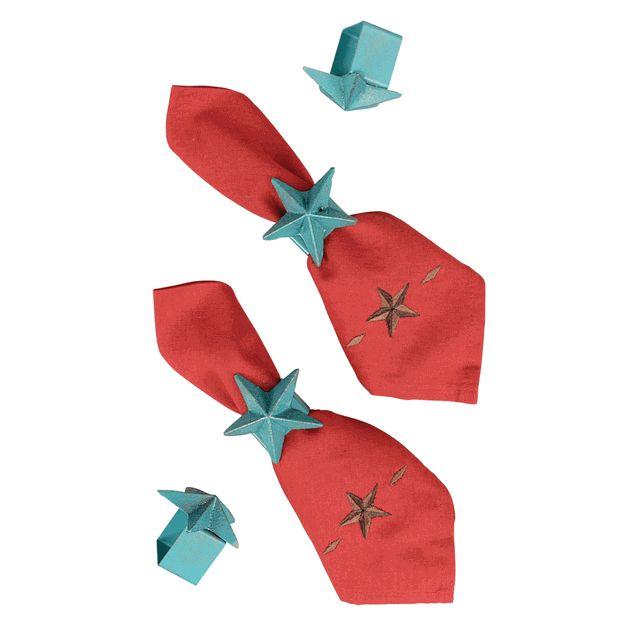Turquoise Star Napkin Rings - Set of 4
