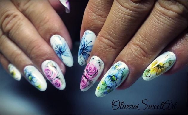 Aquarelle Watercolour Painting Flower Nails Toe Nail Art Gel