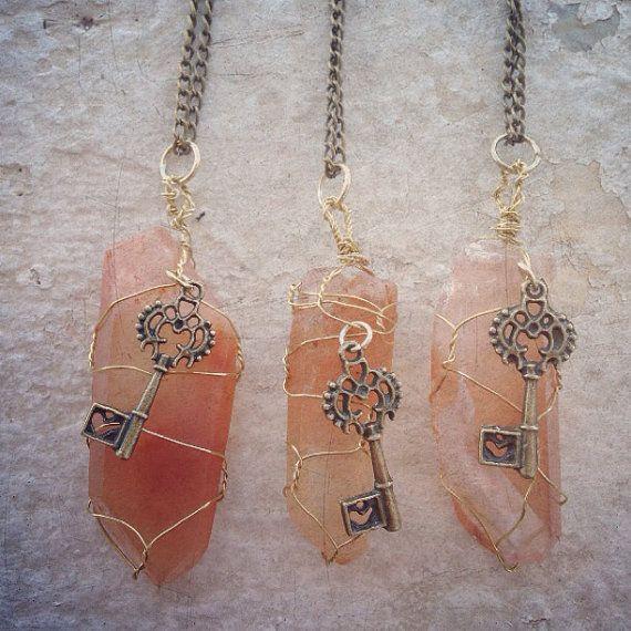 Tangerine Quartz wire wrap crystal necklace with antique key charm