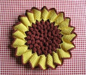 crochet sunflower with diagram