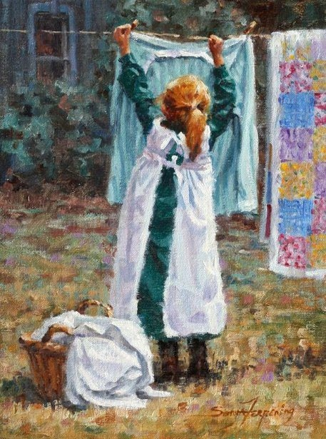 Image result for little girl washing oil painting