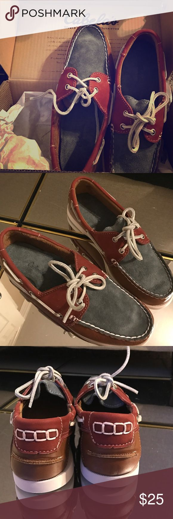 Cabelas maroon & blue leather boat shoes. Super cute boat shoes that I hate to say goodbye to - but they've gone unworn long enough I suppose! Cabela's Shoes Flats & Loafers