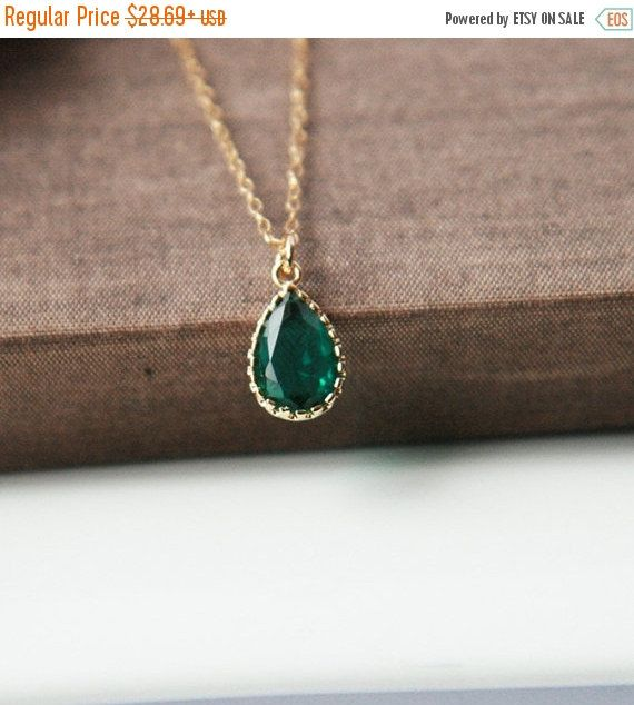 ON SALE Emerald NecklaceGold NecklaceEmerald by lilabelledesign