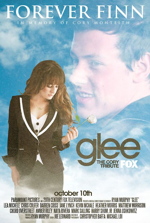"""fan made poster for Glee episode 5x03 """"Forever Finn"""" with Lea Michele and Cory Monteith"""