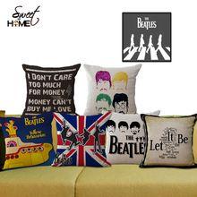"""Place 18 """" coton lin de Style de bande dessinée Beatles décoratif canapé jet coussin chaise coussin de siège pour la vente au détail(China (Mainland))"""