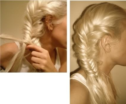 Fishtail - Two strands separated, pull strand from one side to the other