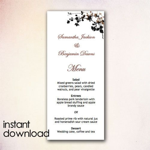 15 best DIY Wedding Menu Templates - Instant Download images on - dinner party menu template