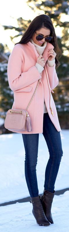 Pink + cream + jeans