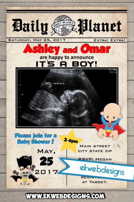 Custom Super Hero Newspaper Baby Shower Invitations- Printable - Daily Planet Batman and Superman Baby Shower Invitation