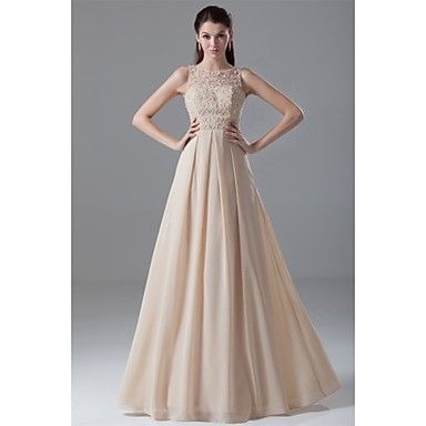 Formal+Evening+Dress+Ball+Gown+Jewel+Floor-length+Chiffon+/+Lace+with+Beading+/+Lace+–+GBP+£+70.55
