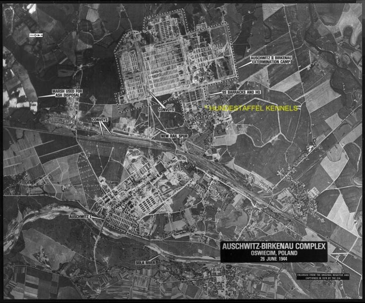 Complex aerial photographs of concentration camp Auschwitz ...