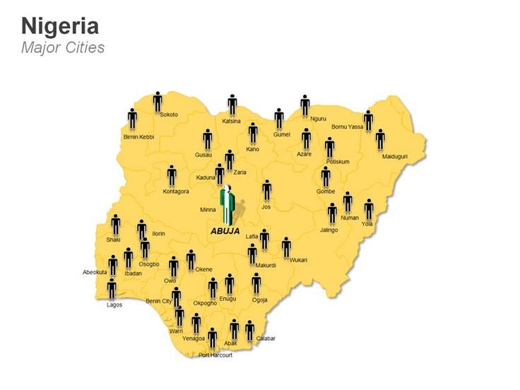 Editable PowerPoint Map: Nigeria Map