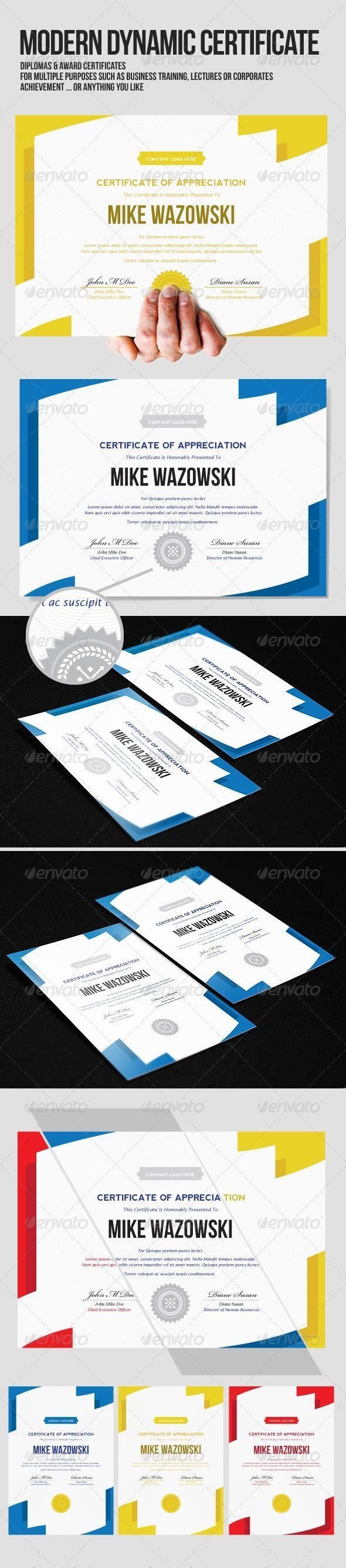 Modern Dynamic diploma award Certificate - Certificates Stationery