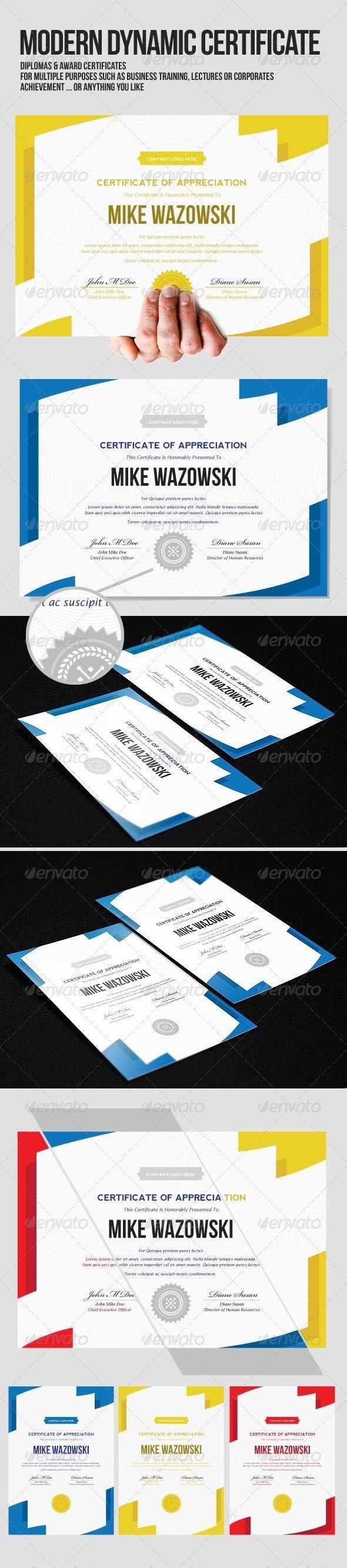 Modern Dynamic diploma award Certificate - Certificates Stationery