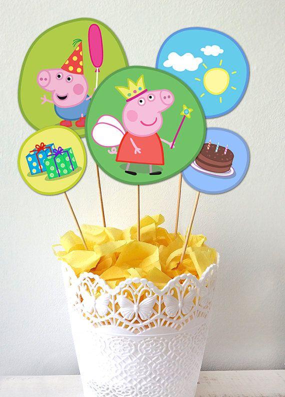 Peppa Pig Centerpiece, Peppa Pig Printables, Peppa Pig Party, Peppa Pig Labels.